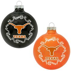 Classic Ncaa Texas Longhorns Home and Away Glass Ornaments