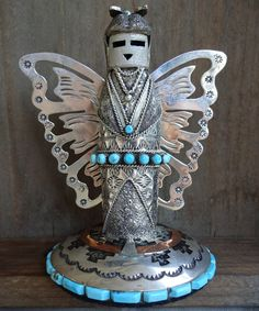 Rare Navajo WILFORD BEGAY Signed Sterling Silver & Turquoise BUTTERFLY Kachina Maiden by TurquoiseKachina on Etsy