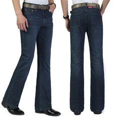 >> Click to Buy << 2017 New High Quality Business Bell-bottoms Jeans Men's Mid Waist Elastic Boot Cut Jeans Flares Pants Size 27-36 #Affiliate