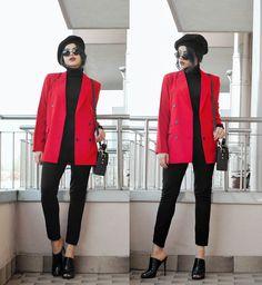 blazer outfit Clara Campelo - Blazer, More - Red Blazer Clara Campelo - Blazer, More - Roter Blazer Orange Blazer Outfits, Blazer Outfits Casual, Blazer Outfits For Women, Outfits Damen, Blazer Fashion, Blazers For Women, Fall Outfits, Red Velvet Jacket, Black Women