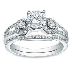Auriya 14k Gold 1ct TDW Round Diamond Bridal Ring Set (H-I, I1-I2) (Bridal Set - White Gold - Size 4), Women's