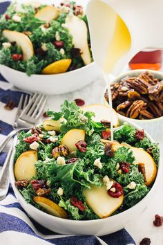 This Pear and Gorgonzola Salad with Caramelised Pecans Salad with Honey Apple Dressing is the perfect fall salad! It comes together in just 15 minutes! via http://jessicainthekitchen.com