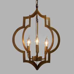 Gold Quatrefoil 3-Light Pendant Lamp