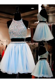 Beaded Two Pieces Short Blue Prom Evening Homecoming Cocktail Dresses 3020124