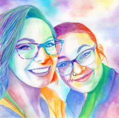 Personalized LESBIAN WEDDING GIFT for lesbian couple, Custom rainbow women portrait painting, Wedding day gift for lesbian bride girlfriend lesbian art custom watercolor portrait painting Christmas Gifts For Couples, Wedding Gifts For Couples, Lesbian Wedding, Lesbian Gifts, Lesbian Art, Watercolor Portrait Painting, Portrait Paintings, Custom Dog Portraits, Couple Portraits