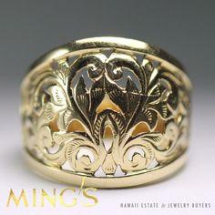 MING'S HAWAII RARE FLEUR DE LIS SCROLL DOMED 14K YELLOW GOLD RING SIZE 5.75 #MingsHawaii