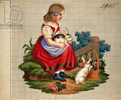 Little girl with rabbits embroidery design, 19th century