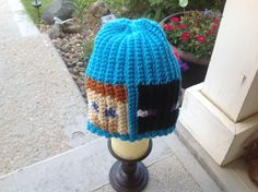 Minecraft crochet hat made for my Minecraft loving grand.
