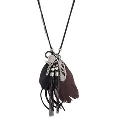 Feather charm necklace (£6) ❤ liked on Polyvore featuring jewelry, necklaces, accessories, women's clothing, feather charm, feather necklace, charm jewelry, feather jewelry and charm necklace