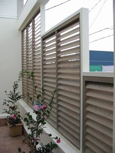 Patio Fixed Blade Privacy Screen - Shutters and Screens, Solar Shades ...