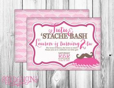 Tutu and Stache Bash Birthday Party Invitation by FiGiDesigns, $15.00