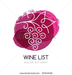 Vector illustration of linear grape vine in watercolor circle splash. Logo design template. Concept for organic products, harvest, healthy food, wine list, menu.