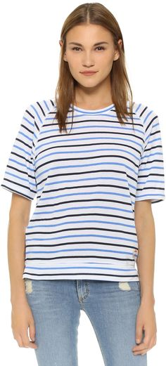 Slouch striped tee with heart pocket and side slits. SUNDRY Heart Patch Stripe Tee