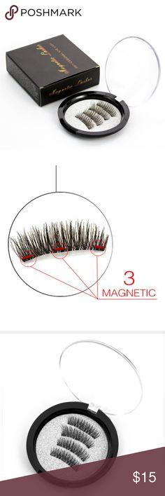 Magnetic Fake False Eyelashes Triple Magnet New triple magnet false eyelashes. Full strip. Synthetic hair. Length is 1 cm-1.5 cm. (A14) Genailish Makeup False Eyelashes