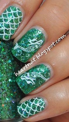 Mermaid Nail Art. I love the scales, but not the mermaid