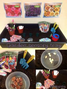 Seeds, pots, fake flowers and tools. Seeds, pots, fake flowers and tools. Tuff Spot, Spring Activities, Sensory Activities, Sensory Play, Children Activities, Preschool Themes, Eyfs Classroom, Classroom Themes, The Tiny Seed