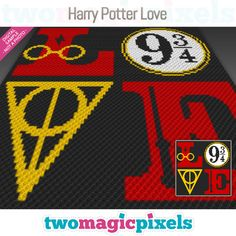 Harry Potter Love by Two Magic Pixels Graph Crochet, C2c Crochet, Love Crochet, Crochet Crafts, Crochet Projects, Yarn Projects, Baby Harry Potter, Harry Potter Crochet, Harry Potter Perler Beads