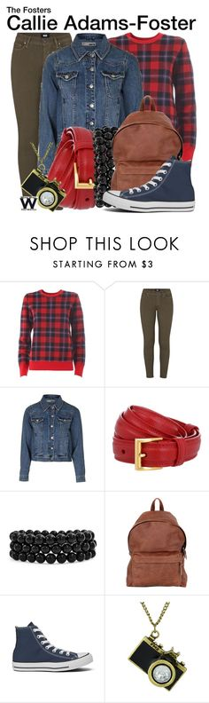 """The Fosters"" by wearwhatyouwatch ❤ liked on Polyvore featuring Equipment, Paige Denim, Topshop, Prada, Bling Jewelry, Eastpak, Converse, television and wearwhatyouwatch"