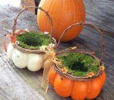 White Pumpkin Flower Girl Basket - Small - Fall Wedding Basket. $37.00, via Etsy.