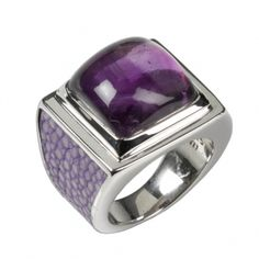 UBE Silver Ring -  Exciting combination of lavender colored stingray leather and precious gemstone amethyst cabochon. He is best appreciated when you wear it as a single piece. 590.00