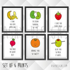 SET OF 6 - Nursery Children's Bedroom Home Garden Posters - 8x10 Picture Print Sets - Funny Cute Happy Fruit Vegetable Puns Present - FVS06