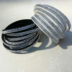 Swarovski style bracelet -white & black  - crystals - fashion accessories #CellucciJewellery