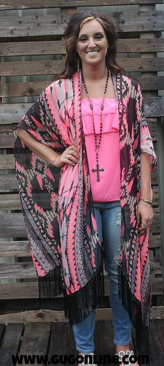Pushing the Limits Aztec Kimono with Fringe in Neon Pink One Size $19.95 www.gugonline.com