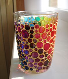 Multi Coloured Bubbles Water Glass Hand painted Glasses