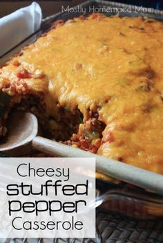 Pepper Casserole Cheesy Stuffed Pepper Casserole - the EASY way to make stuffed peppers, yum!Cheesy Stuffed Pepper Casserole - the EASY way to make stuffed peppers, yum! Mexican Food Recipes, Yummy Recipes, Cooking Recipes, Dessert Recipes, Pizza Recipes, Recipies, Vegan Recipes, Cheese Recipes, Recipes Dinner