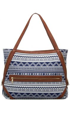blue geometric tote with brown straps
