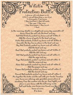 Witch's Protection Bottle Book of Shadows Page BOS Pages Real Witchcraft Spell | eBay