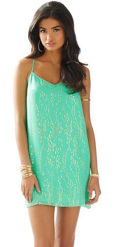Lilly Pulitzer Dusk Strappy Silk Slip Dress in Beach Glass Bubble Clip Dot Jacquard