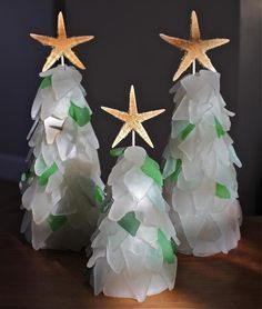 Sea Glass Christmas Tree Trio | Glass christmas tree, Sea glass ...