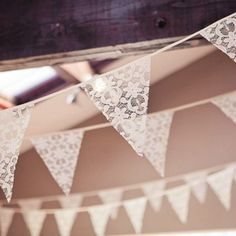Lovely white lace bunting flag pennant banner for vintage wedding decor Wedding Bunting, Diy Wedding, Dream Wedding, Wedding Day, Wedding Reception, Decoration Communion, Bunting Garland, Lace Garland, Buntings