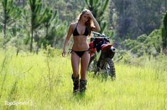 Everyone, I just got some amazing brand name purses,shoes,jewellery and a nice dress from here for CHEAP! If you buy, enter code:atPinterest to save http://www.superspringsales.com -   Dirt Bikes and Bikinis. I can be all girl, but completely tomboy too, like this chick.