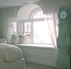 "Previous pinner wrote, ""Bedroom built-in Arcade displaying a beautiful space for reading and relaxing. Use of natural light for a dream-like natural atmosphere enhanced by the predominance of the white color and light values. Combination of light patterns on fabrics and clean white wood in the millwork. Combination of curvy appeasing archs 'semi-elliptical' arch and window, and straight lines. Comfy, Cozy, Delightful."""