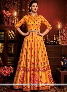 Gold Colour Art Silk Fabric Party Wear Anarkali Suit Comes with Matching Dupatta and bottom fabric This Anarkali Suit Is crafted with Printed,Lace Work This Anarkali Suit Comes As a Semi stitched Whic. Anarkali Frock, Silk Anarkali Suits, Long Anarkali, Indian Salwar Kameez, Saree Dress, Churidar, Lehenga, Sharara, Salwar Suits