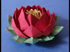 How to make an easy origami 20 petal lotus flower with stamen - YouTube