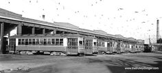 The Chicago Surface Lines electric streetcar barn located at South Archer Avenue and West Pershing Road in Chicago's Brighton Park neighborhood. Chicago Illinois. October 16th 1946. (Gone - Demolished.)