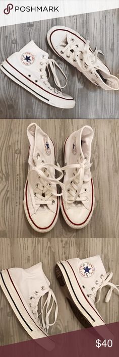 81c98324d43 White High-Top Converse Sneakers Gently used & in good condition! They have  a few marks on them, as shown in the photos, but are in overall good  condition!