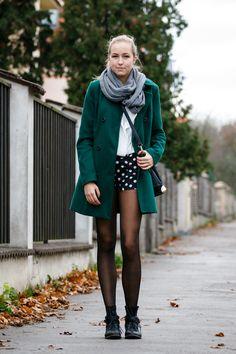 White Shirt, scarf, winter coat, polka dot shorts & tights