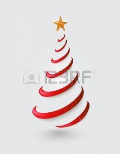Feliz Natal abstrato silhueta da rvore vermelha com ilustra o da estrela de ouro arquivo vetorial co Banco de Imagens