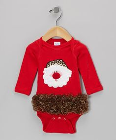 Red Leopard Santa Ruffle Bodysuit - Infant on zulily today!