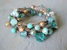 "INCREDIBLE - slashKnots - from Etsy - (sold!) Boho chic crochet wrap necklace bracelet - ""Morocco""  Amazonite, turquoise,aqua, gold, luxe boho chic, beachy crochet jewelry"