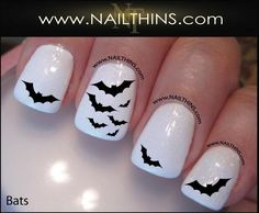 Bat Nail Decals Scary Bats Halloween Vampire Nail Art by NAILTHINS