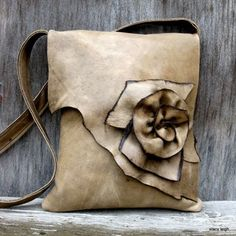 Prairie Messenger Soft Taupe Natural Edge Rose Leather Bag by Stacy Leigh
