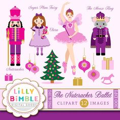 NUTCRACKER BALLET CLIPART 12 Nutcracker ballet images including the Sugar Plum Fairy and the Mouse King. Each item is saved individually as a high resolution 300 DPI JPG and PNG. All the PNGS have transparent backgrounds. Includes: Sugar Plum fairy Ballerina - 10 inches tall Nutcracker Soldier - 10 inches tall Clara holding Nutcracker - 10 inches tall Mouse King - 10 inches tall Christmas Tree - 10 inches tall 3 Presents 3 Ornaments Rocking Horse  I N S T A N T • D O W N L O A D…