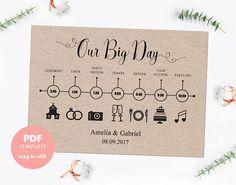 Wedding timeline card. Wedding template card. Easy editable