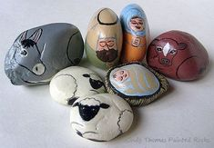 7-Piece Nativity Set Painted on Decorative Stones
