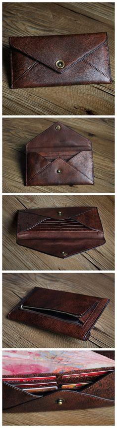 ROCKCOW Full Grain Leather Womens Wallet Ladies Purse Multi Colour 8 Card Slot P0036
